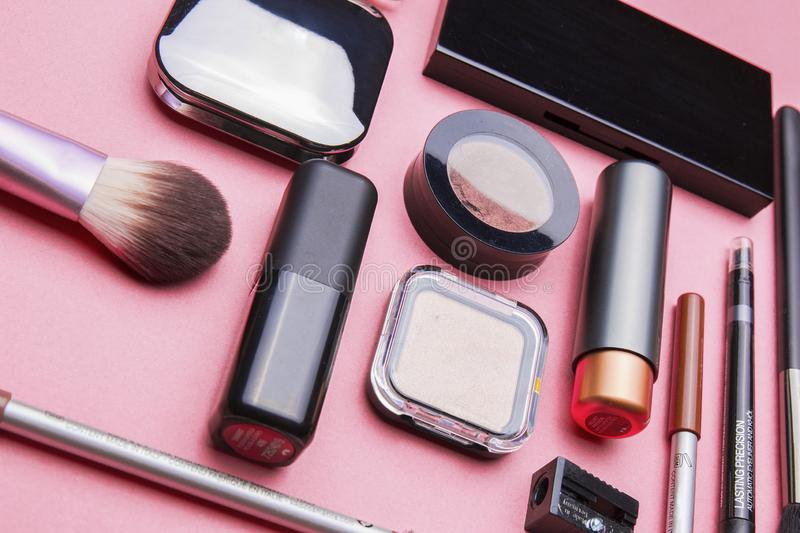 Several kinds of cosmetics still life in the studio. For beauty women and beauty life, fashion makeup, women`s products royalty free stock images