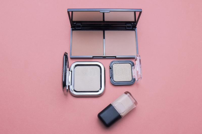 Several kinds of cosmetics still life in the studio. For beauty women and beauty life, fashion makeup, women`s products royalty free stock photography