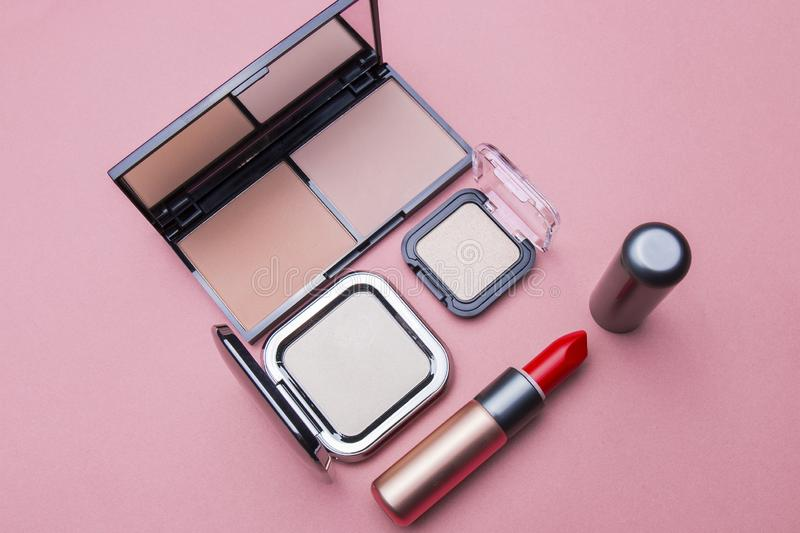 Several kinds of cosmetics still life in the studio. For beauty women and beauty life, fashion makeup, women`s products stock photo