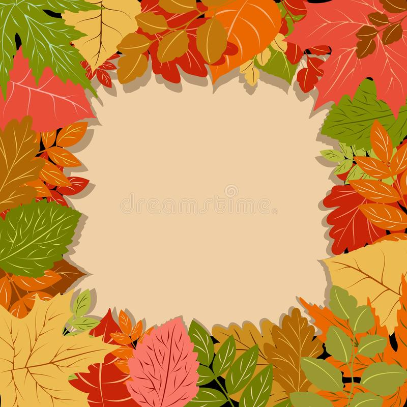 Autumn Leaves Fall Season Vector Frame Border Background. Several Leaves, from oak, to maple, chestnut, and others, with warm fall colors, assembled to compose a vector illustration