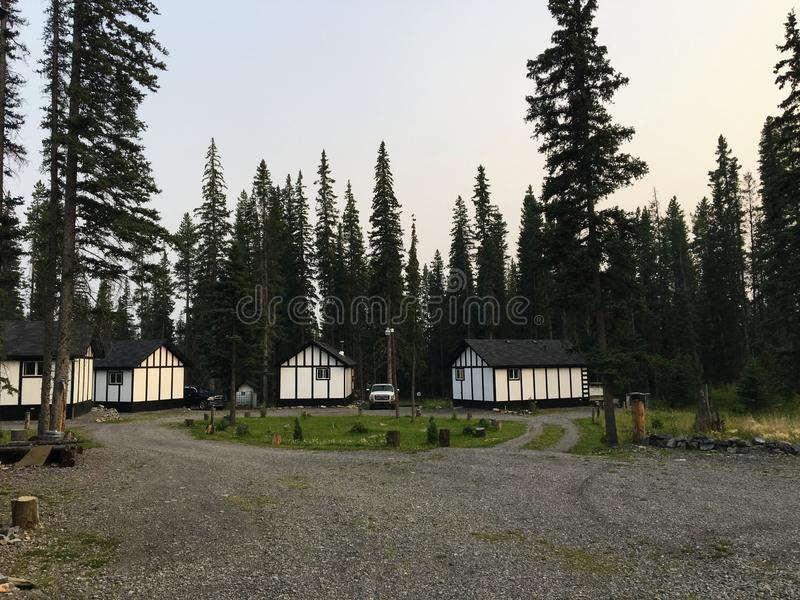 Several log cabins carved out of the forests of Nordegg, Alberta, Canada. These are great getaway spots for vacationers seeking the quietness and solitude of stock images