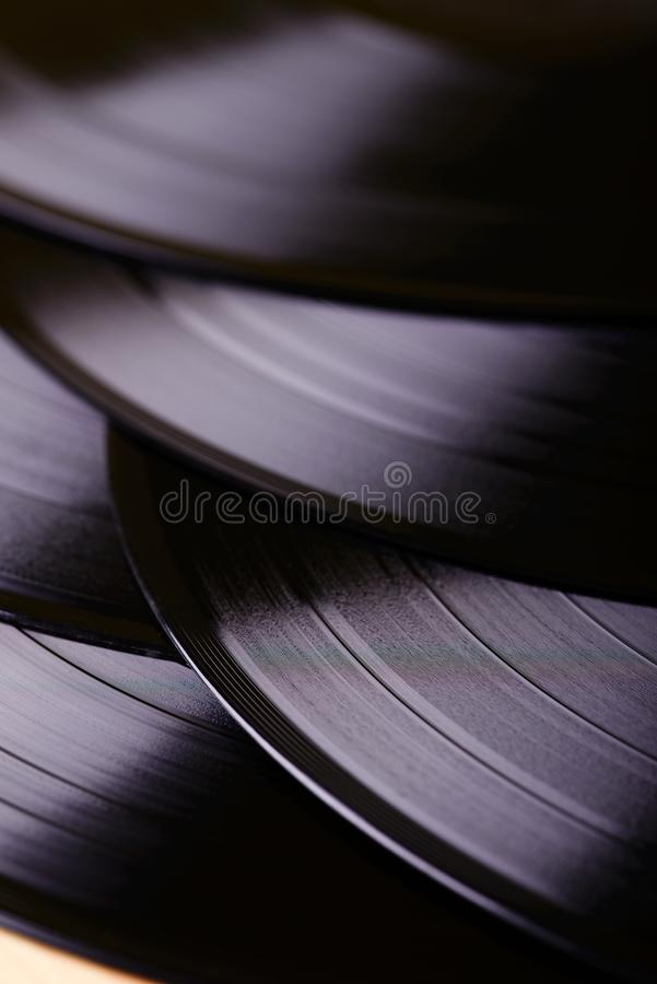 Several LP records on table stock photos