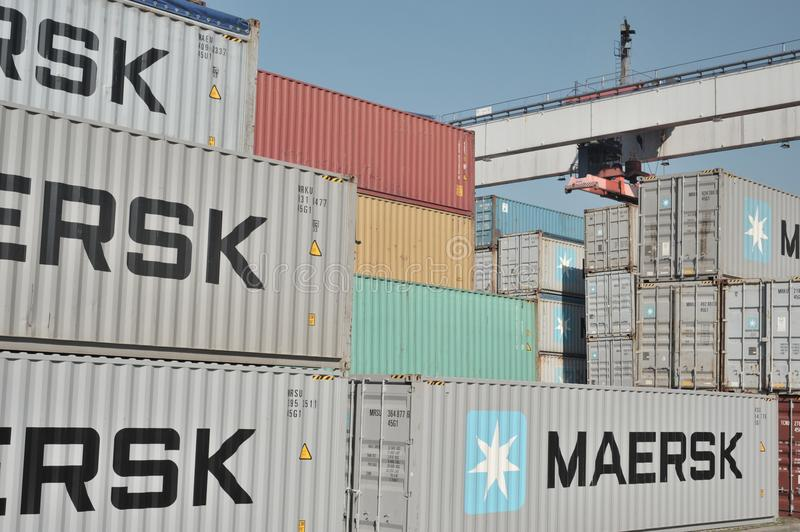Maersk containers on docks royalty free stock photo