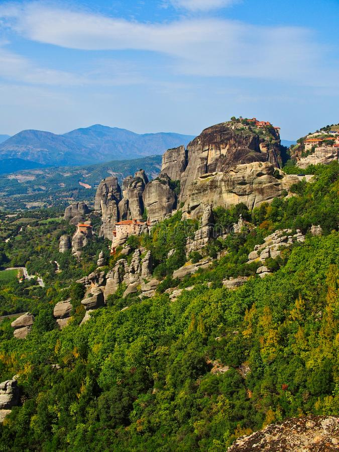 Historical Greek Orthodox Monasteries, Meteora, Greece stock image