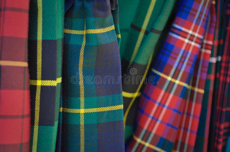 Several Multi Color Plaid Kilts royalty free stock photo