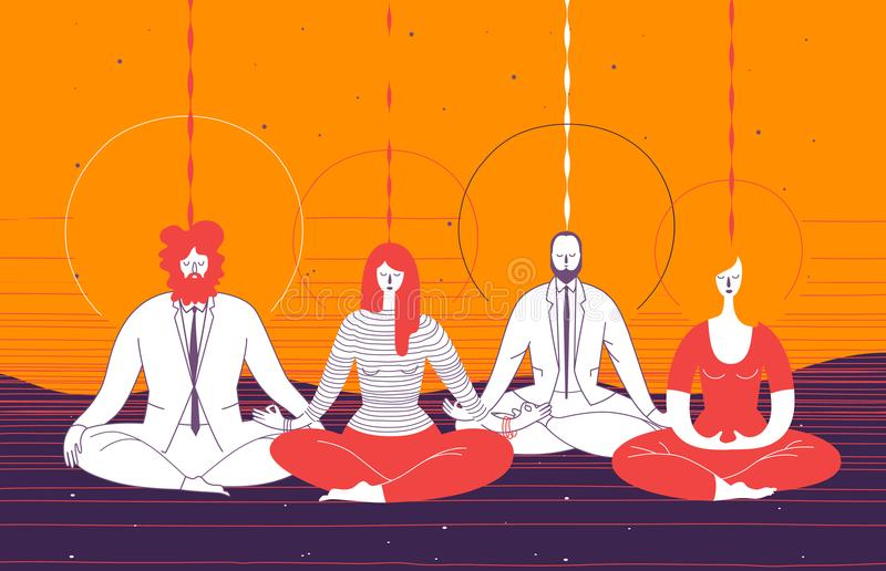Several office workers in smart clothing sit in yoga position and meditate. Concept of business meditation, mindfulness. Concentration, and team building royalty free illustration