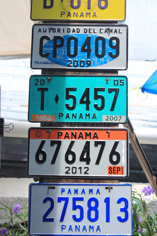 Several Old Car Number Plates Placed In A Marketplace In The Old ...