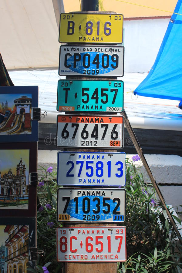 Download Several Old Car Number Plates Placed In A Marketplace In The Old City Of Panama : antique number plates - pezcame.com