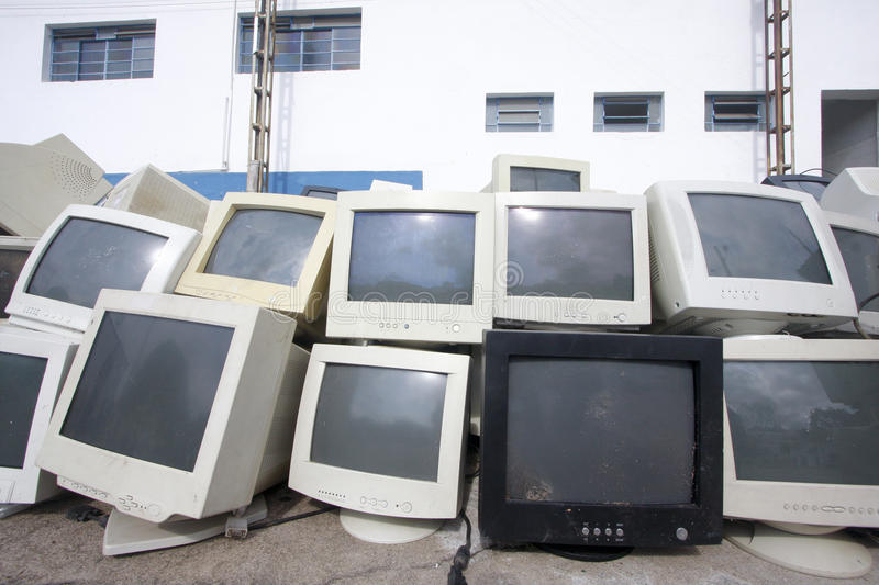 Several old video monitors stock image