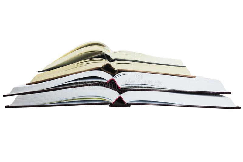 Several open books. Several open thick books on a white background royalty free stock image