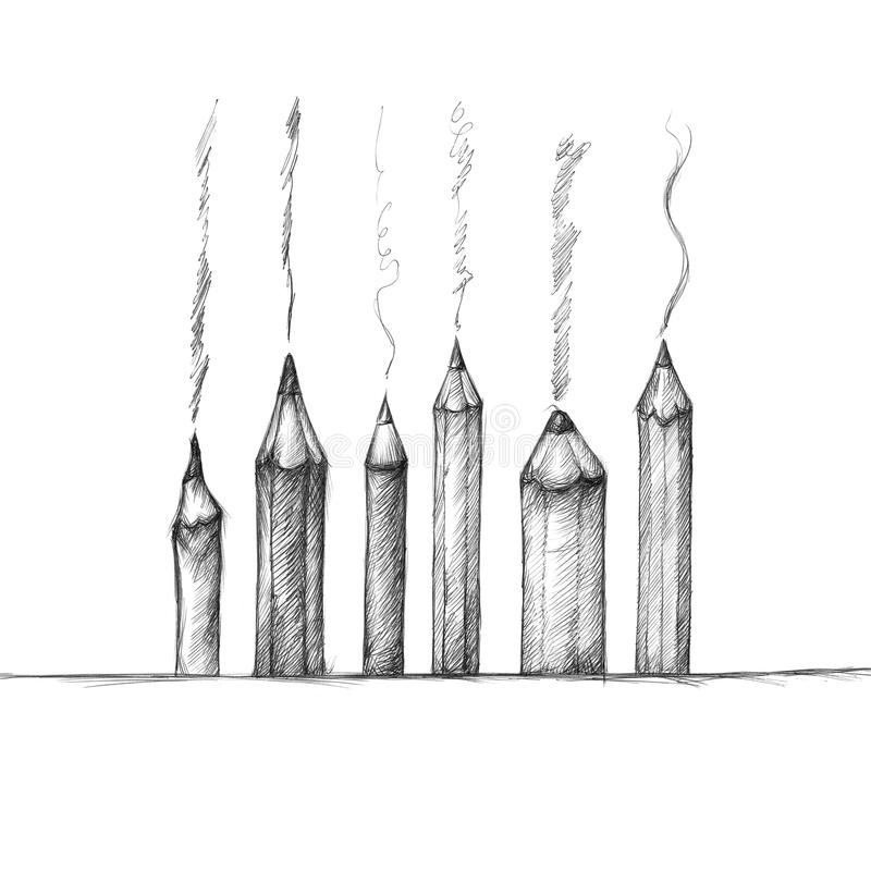 Several pencils. Illustration of several pencils on a background with some brush strokes stock illustration