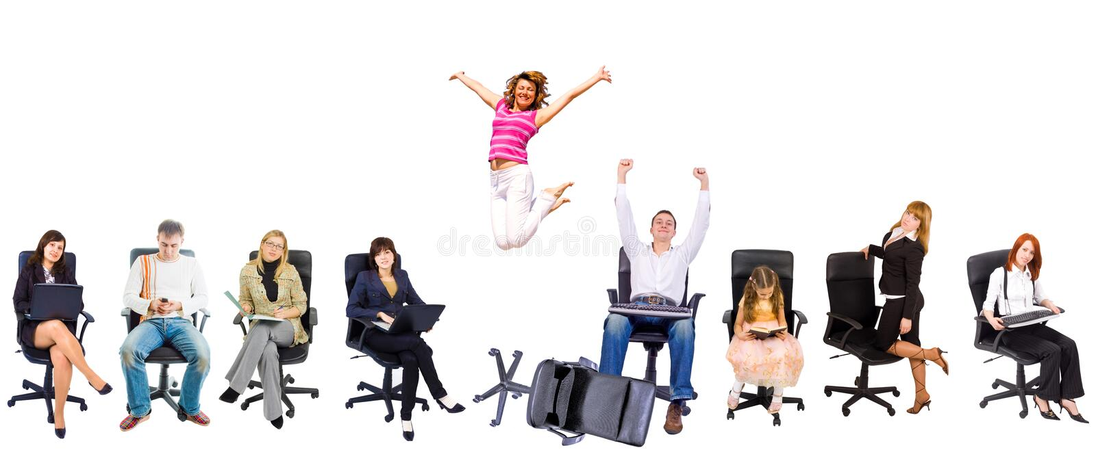 Several people in office chairs royalty free stock images