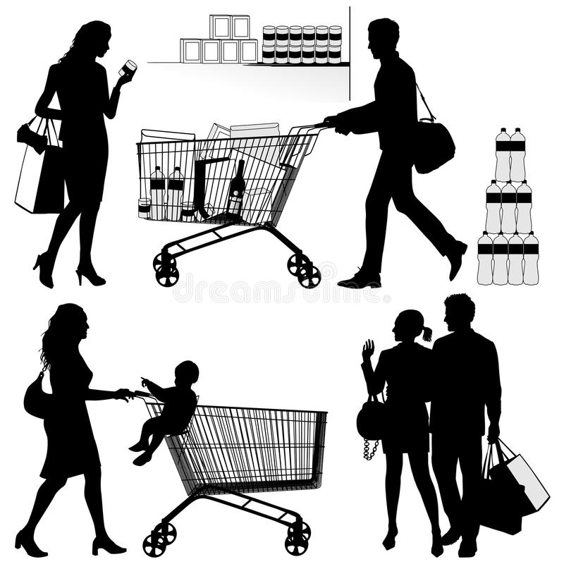 Several people, shopping - vector silhouettes. Several people. You can put any number of products in shopping trolley vector illustration