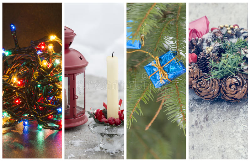 Several photos with the Christmas holidays theme. Collage of several photos with the Christmas holidays theme stock photography