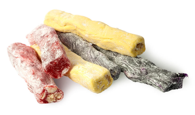 Several pieces of Turkish Delight in a row stock photos