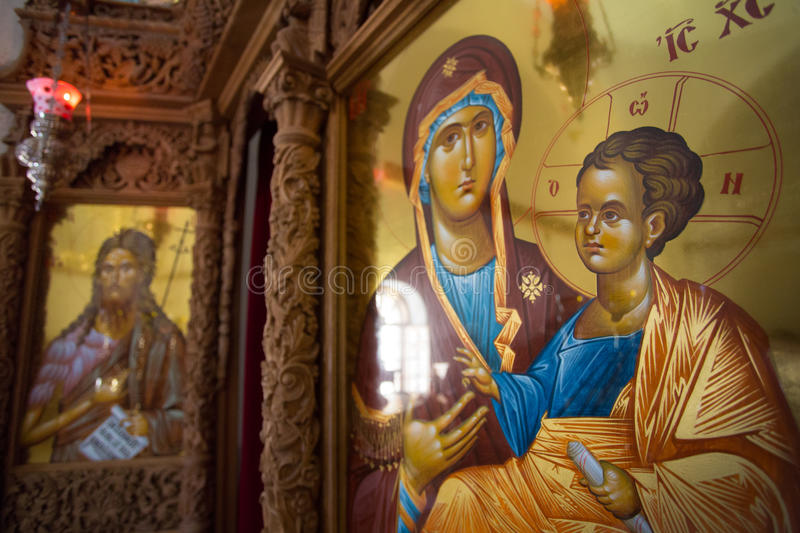 Several religieus icons. Several religious icons of Jesus and his priests in a orthodox church, Santorini, Greece 2013 royalty free stock image
