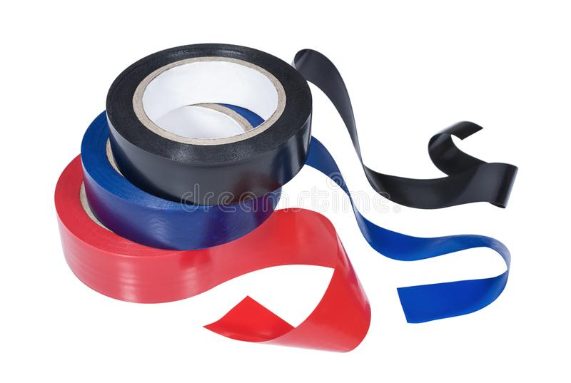 Several rolls of insulation tape on white background royalty free stock photos
