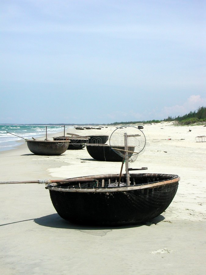 Several round fishingboats royalty free stock images