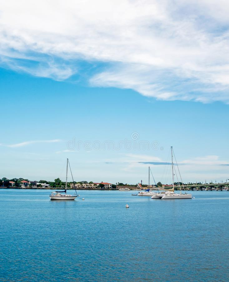 Sailboats in the water, Saint Augustine, FL royalty free stock photography