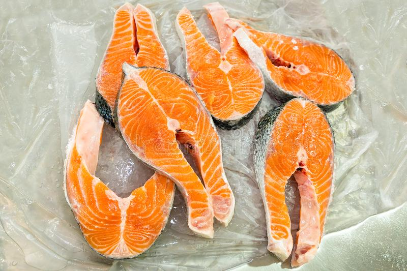 Salmon Parts For Sale On Market Stock Image - Image of fisherman ...