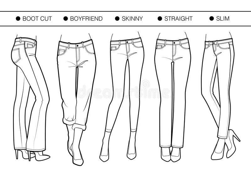 Several silhouettes of trousers stock illustration