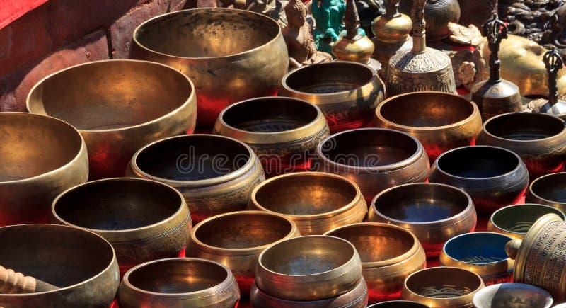 Several singing bowls at a bazaar stock photo
