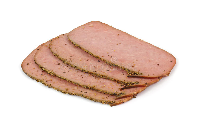 Download Several Slices Of Turkey Pastrami Stock Photo - Image: 14615332