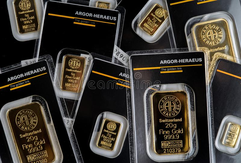 Several small minted bars of different weight produced by the Swiss factory Argor-Heraeus stock images