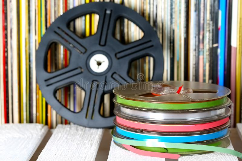 Set of sound recording tapes, media for music and sound royalty free stock images