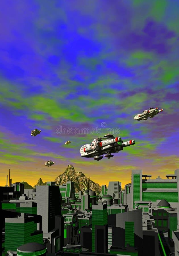 Several spaceships over a futuristic city. Several spaceships are flying over a futuristic city, 3d illustration stock illustration