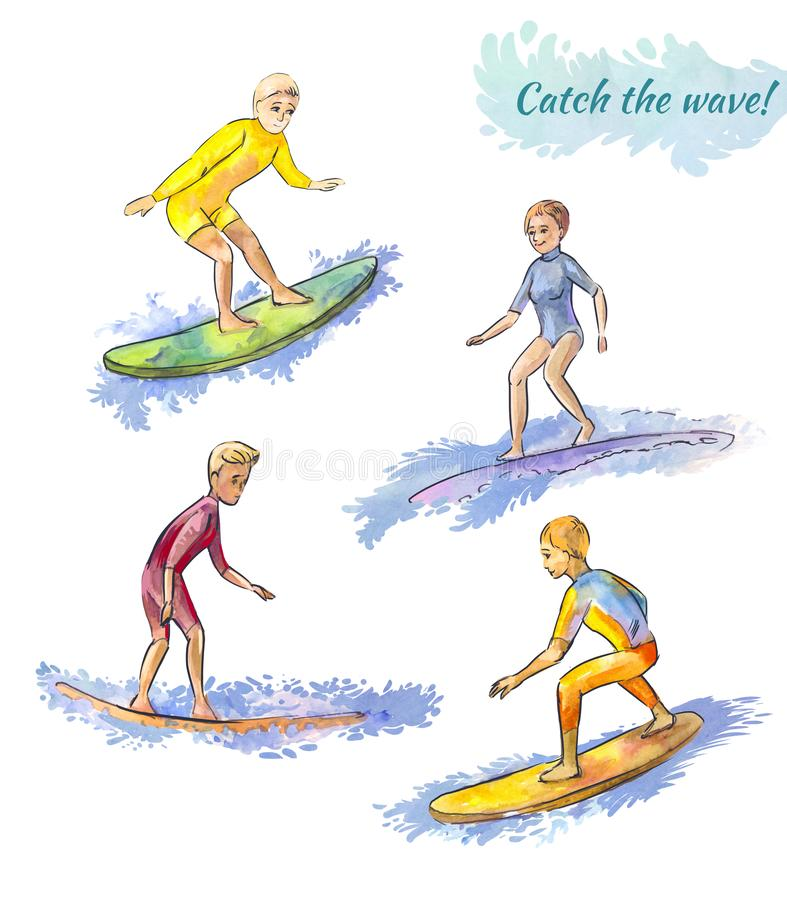 Several surfers on the boards. Surfing competitions. Youth sport. Character set isolated on white. Young and elderly surfers. Surfing on the coastal waves. Set vector illustration