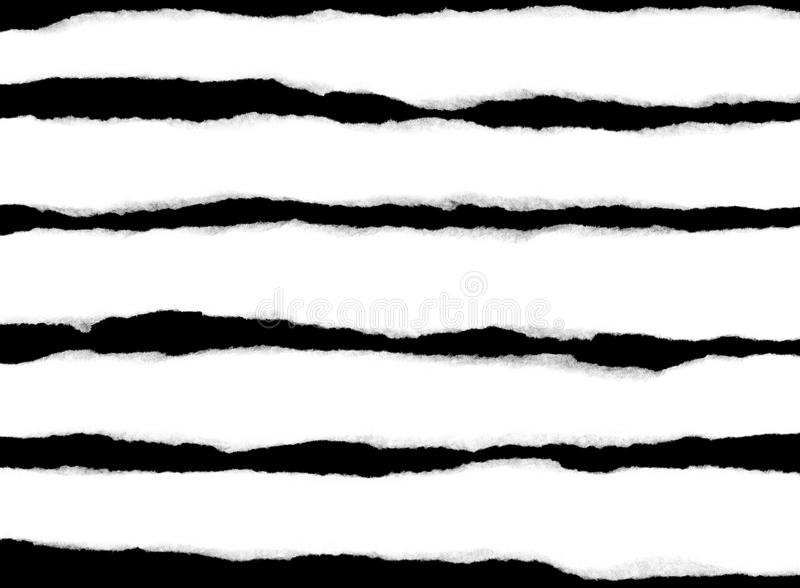 Several torn strips of white paper isolated on a black background stock illustration