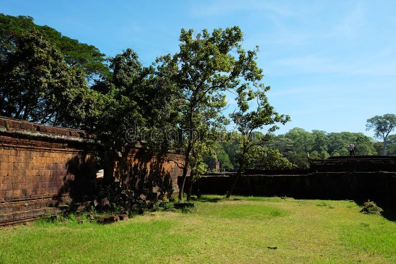 Several trees grow near an old dilapidated defensive wall. Clear blue sky and green lawn.  royalty free stock photo