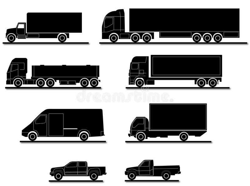 Several truck silhouettes royalty free illustration