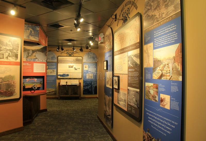 Large display with several descriptions of life on the Eerie Canal, Eerie Canal Museum, Syracuse, New York, 2017. Several walls covered in informative depictions royalty free stock photography