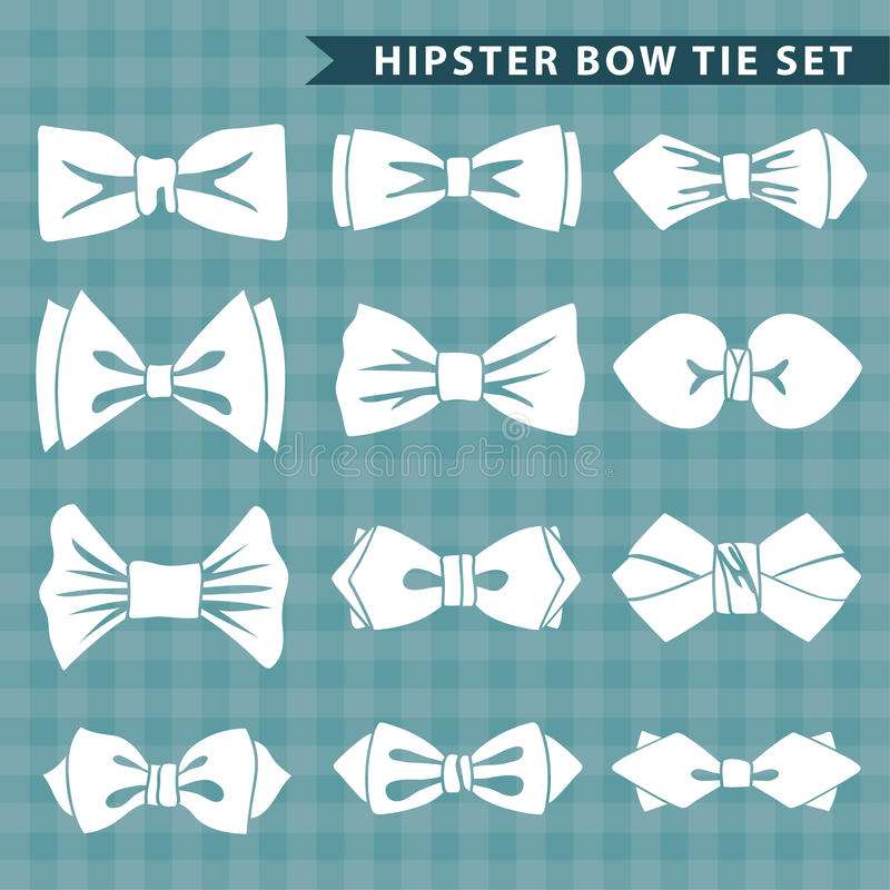 Several White Silhouettes Of Bow Tie Hipster Fashion Stock