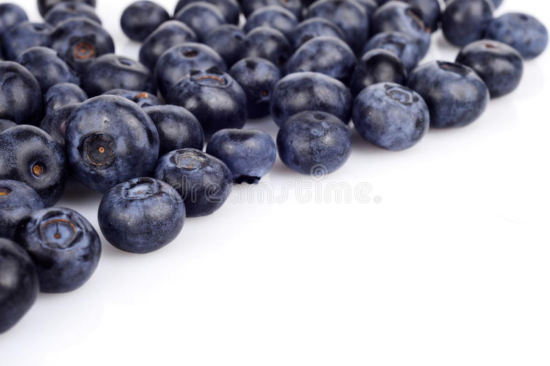 Several whole blueberries isolated on white corner royalty free stock image