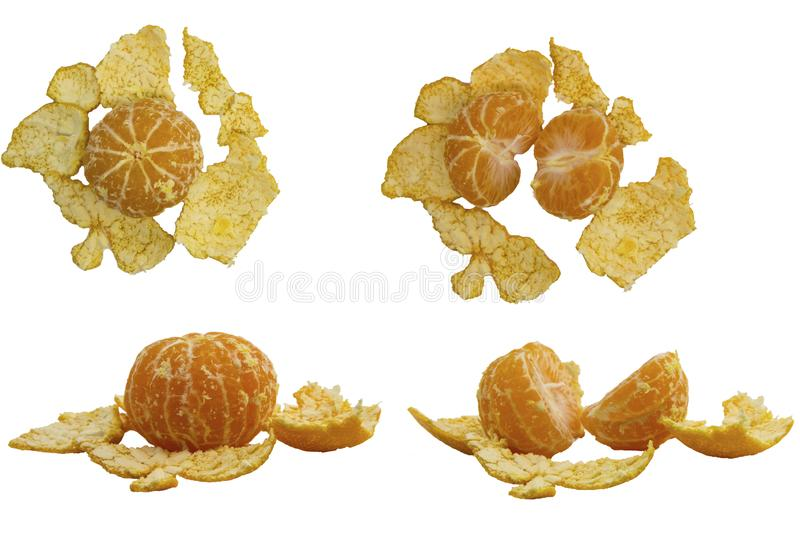 several tangerines with leaves on white backgroundseveral peeled tangerines on a white background stock photos