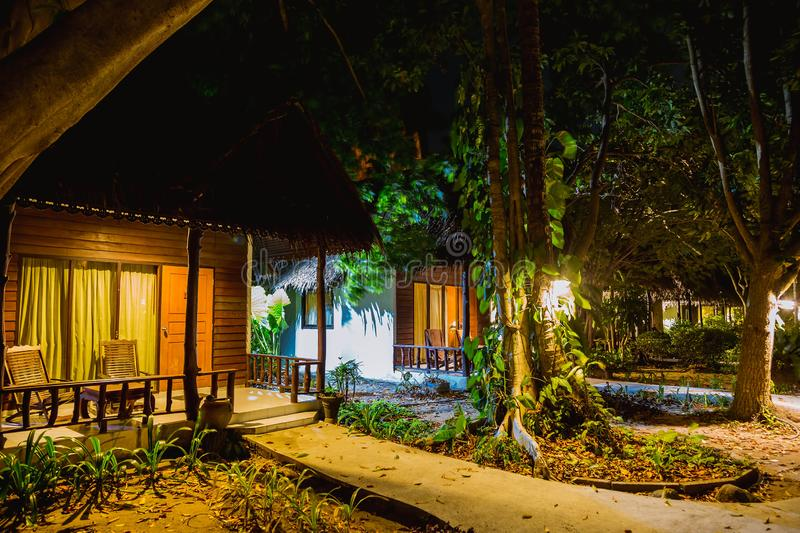 Several wooden houses built woods. Jungle at night with bungalows in a row. Lots of greenery and vegetation.  royalty free stock images