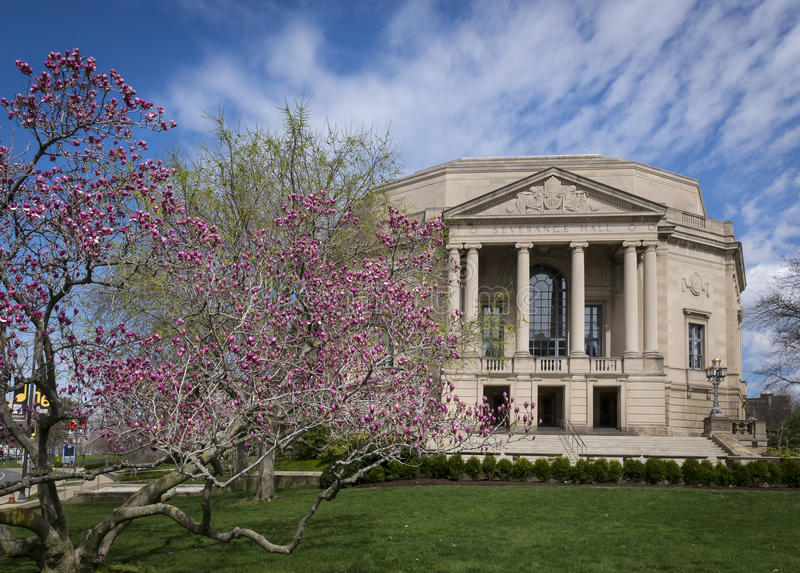 Severance Hall cherry blossoms. Cherry Blossoms in bloom Severance Hall, Cleveland, Ohio royalty free stock photography