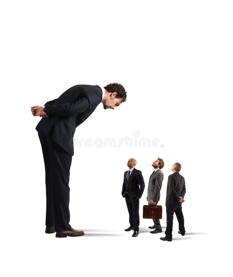 Severe boss humiliates his employees stock photography