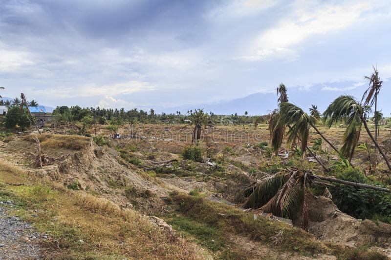 Severe damage from earthquake and liquefaction natural disasters stock photos