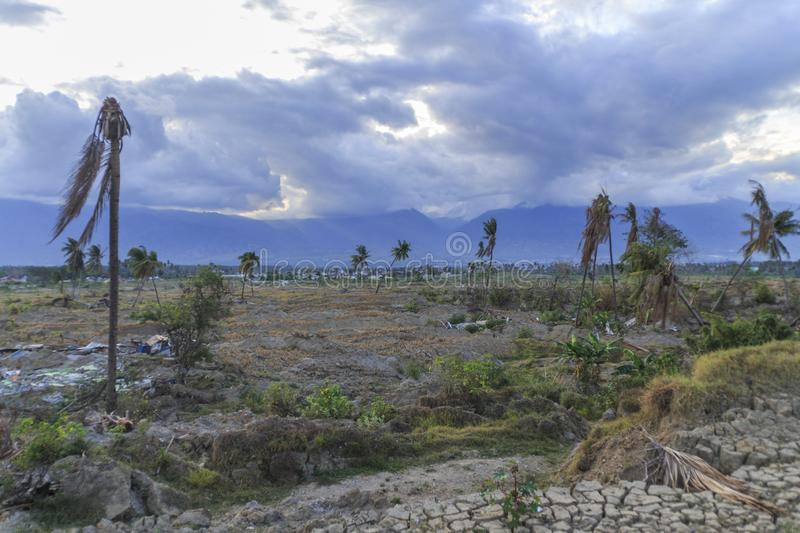 Severe damage from earthquake and liquefaction natural disasters. In Petobo village, Palu city, Central Sulawesin stock photo