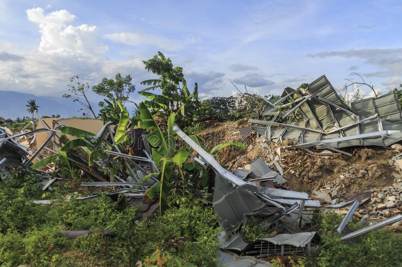 Severe damage from earthquake and liquefaction natural disasters. In Petobo village, Palu city, Central Sulawesin royalty free stock photos