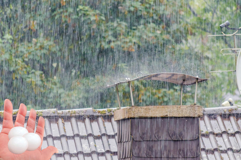 Severe damage to the roof by hail. royalty free stock image