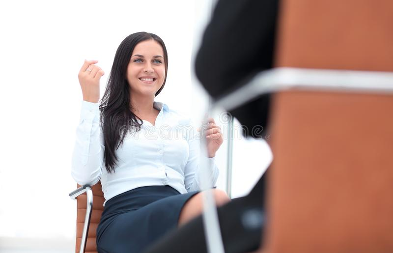 Severe female manager criticize her team member stock image
