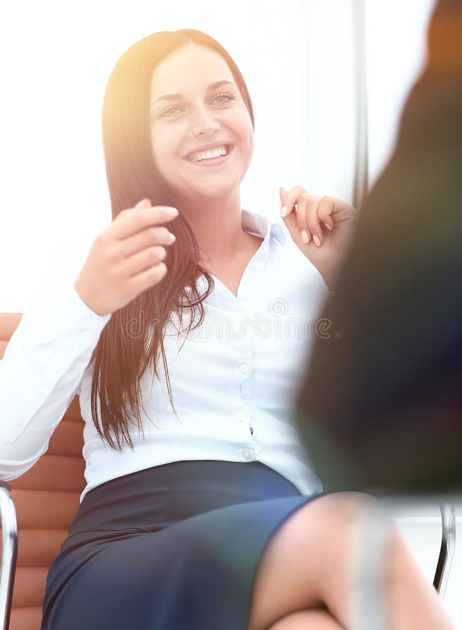Severe female manager criticize her team member royalty free stock photos
