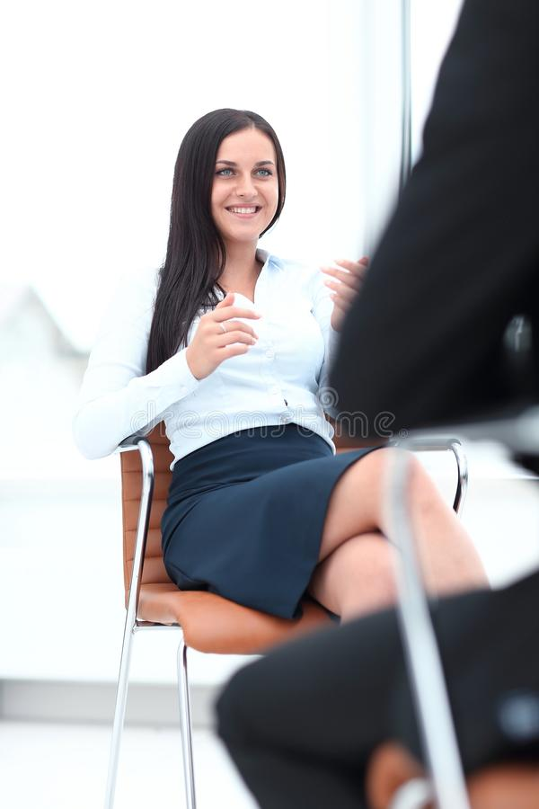 Severe female manager criticize her team member royalty free stock photo