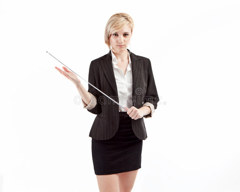 Severe teacher holding pointer stock image