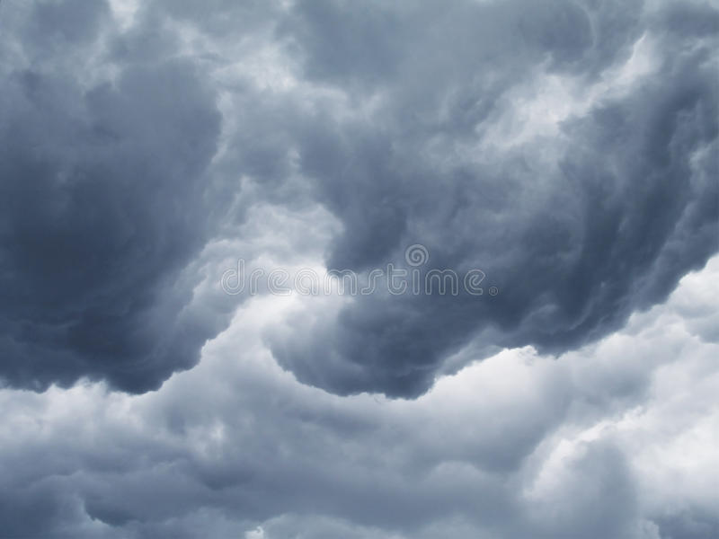 Severe Thunderstorm Clouds. Rolling clouds at the forefront of a severe thunderstorm stock photography